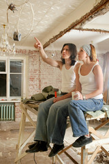 Young people think about repair in the apartment