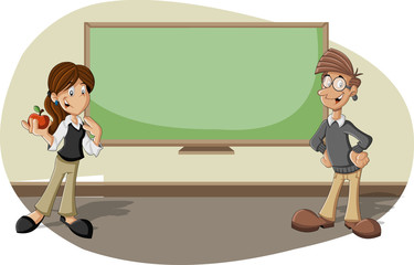 Cartoon teachers in the classroom with blackboard
