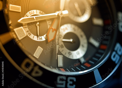 Man watch, chronograph close up