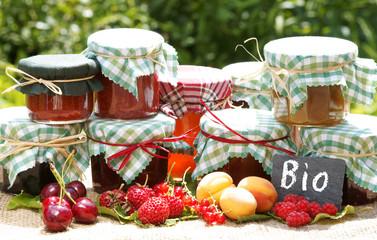 verschiedene Bio-Marmeladesorten mit Früchten