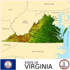 Virginia USA counties name location map background