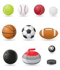 set icons sport balls vector illustration