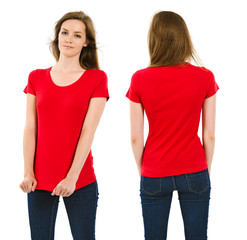 Young brunette woman with blank red shirt