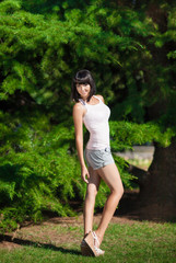 Summer woman on nature