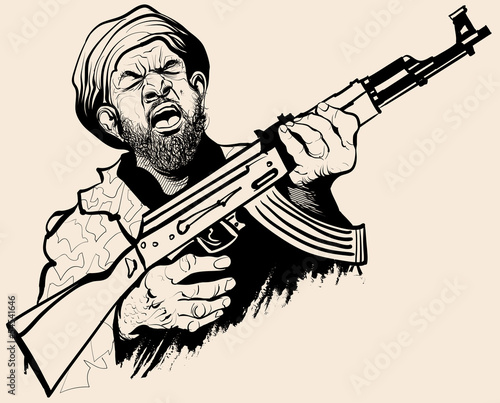 Caricature of a terrorist