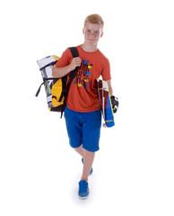 Teenager mit Kiteboard und Kiteschirm