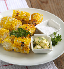 Grilled corn with herb butter and salt