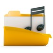 3d yellow folder icon with musical notes