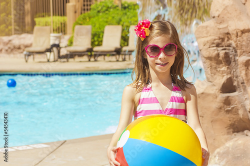 Little swimmer ready to play in the Pool