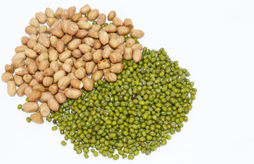 peanuts and green mung beans isolated on white background