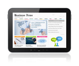 Business media on digital tablet