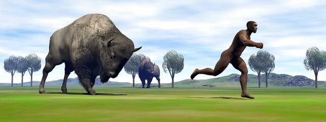 Bison charging homo erectus - 3D render