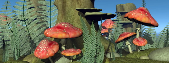 Fly agaric mushrooms in the forest - 3D render