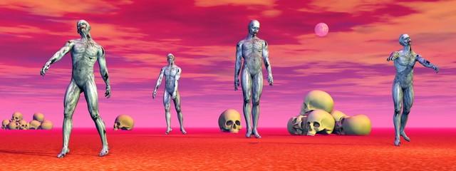 Zombies among skulls - 3D render