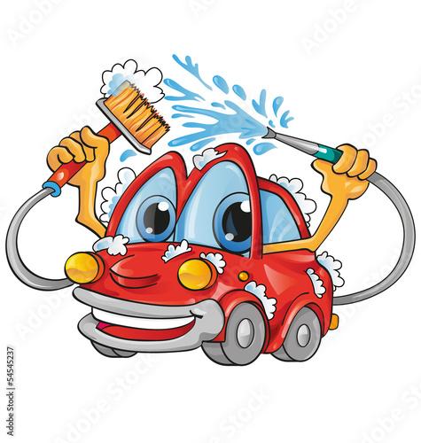 Fotobehang Auto car wash cartoon