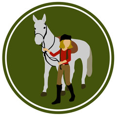beautiful horse and horsewoman in a circle