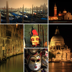 Photo collage of Venice at night