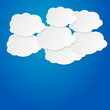 Blue sky clouds vector illustration background