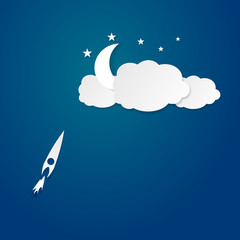 Rocket to the moon vector illustration background