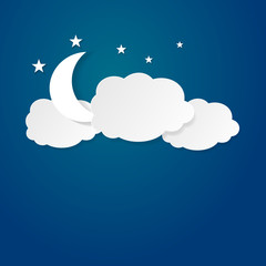 Moon between the clouds  vector illustration background