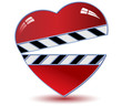 Clapper board with heart .Vector