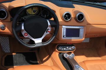 Brown leather car interior