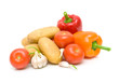 potatoes, tomatoes, peppers and garlic on a white background clo