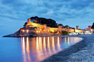 Tossa de Mar, Costa Brava, Spain, Fortess by night