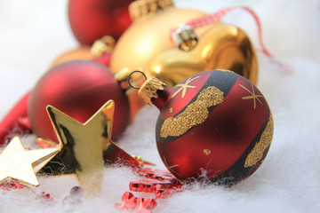 Christmas decorations in red and gold