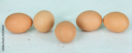 eggs of group on wood table