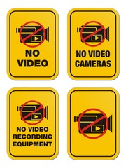 no video yellow signs