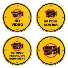 no video recording eqipment signs - cyrcle sign