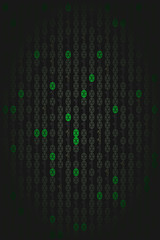 green lighted binary code numbers on black