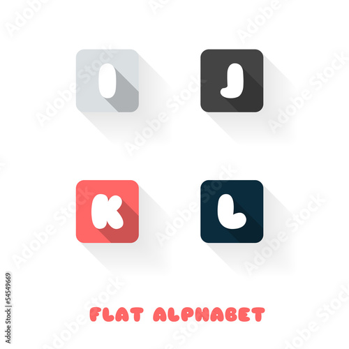 I J K L - Flat Design Button Alphabet