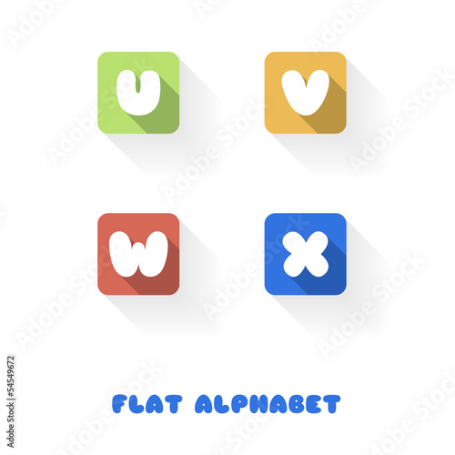 U V W X- Flat Design Button Alphabet