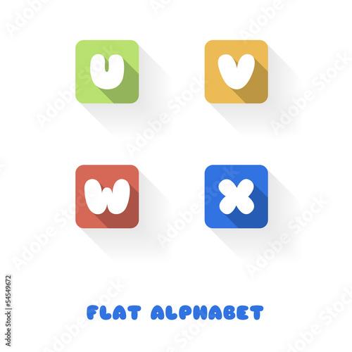 U V W X- Flat Design Button Alphabet