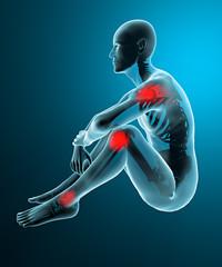 Uomo dolore articolazioni raggi x scheletro