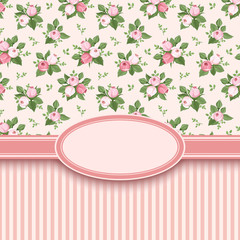 Vintage card with roses and stripes. Vector illustration.
