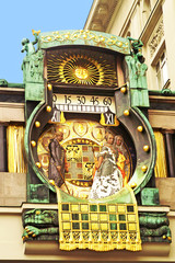 Ankeruhr (Anker clock), famous astronomical clock in Vienna (Aus