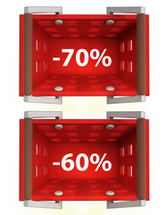 top view on red shopping basket with discount 70%, 60%