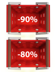 top view on red shopping basket with discount 90%, 80%