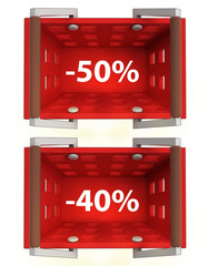 top view on red shopping basket with discount 50%, 40%