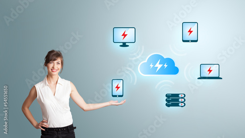 Young woman presenting cloud computing network