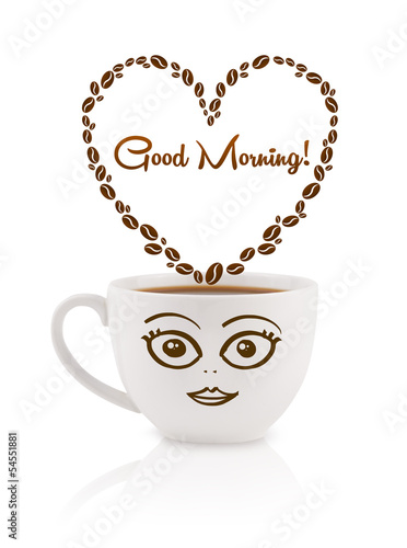 Coffee mug with coffee beans shaped heart with good morning sign - 54551881