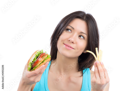 woman with tasty fast food unhealthy burger