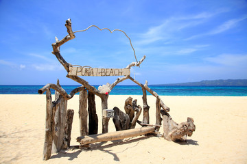Puka shell beach at Southern part of Boracay island, Philippines