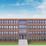 town public  building with brick facade and sky poster