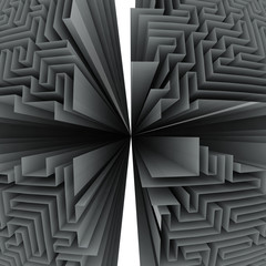 black and white four maze structures