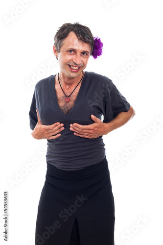 Happy drag queen holding his breasts