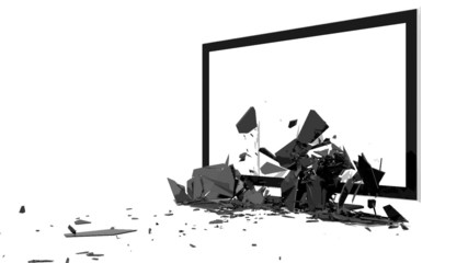 TV Screen explodes. Perspective version.